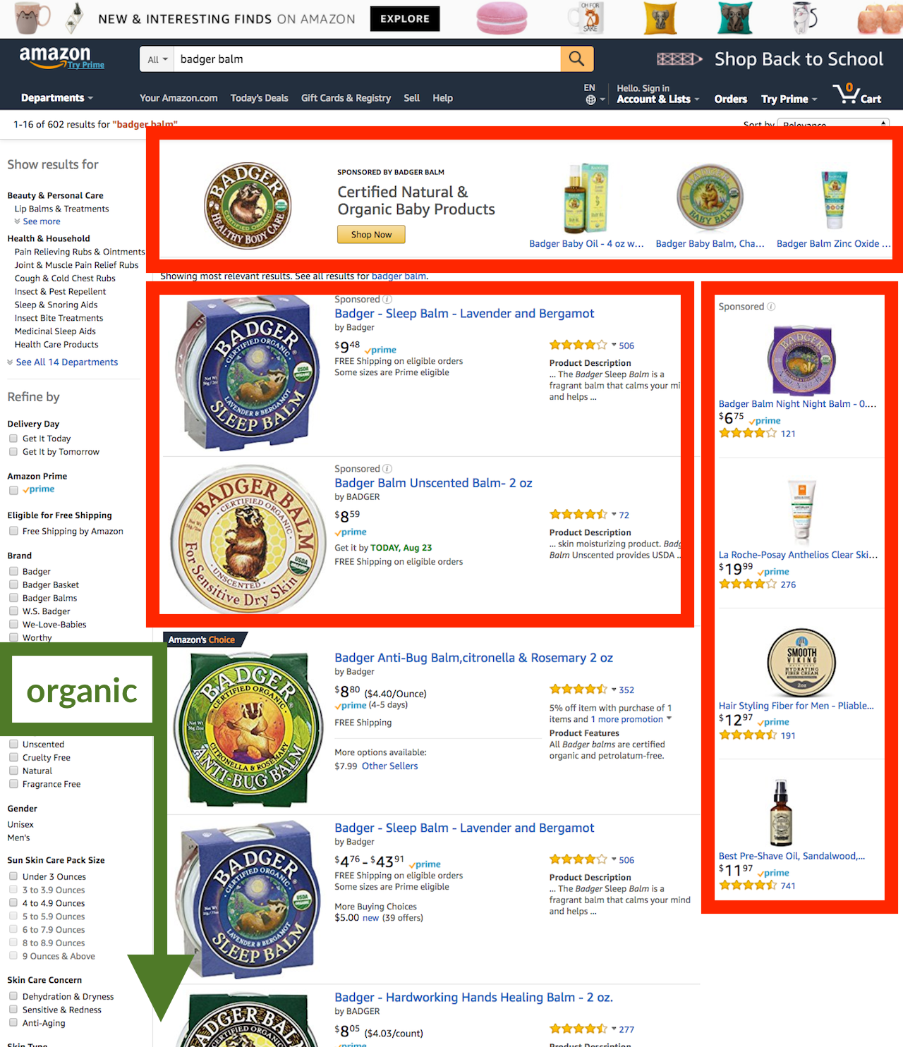 Amazon search - diagram of the types of ads displayed
